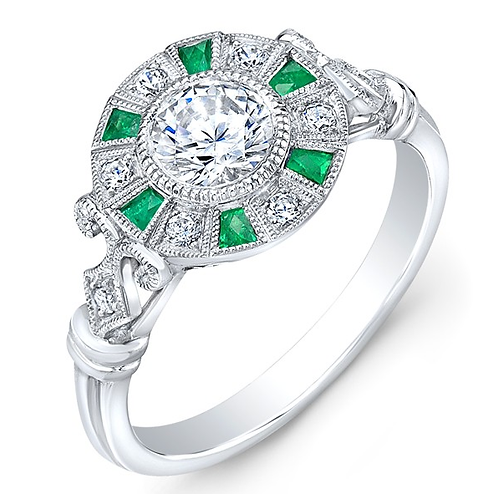 Emerald and 14kt Moissanite Engagement Ring