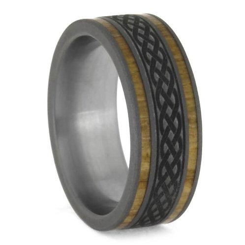 Wood Titanium Ring Celtic