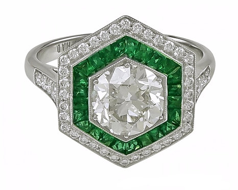 14kt Moissanite and Emerald Ring