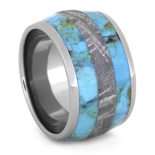 Meteorite turquoise titanium band