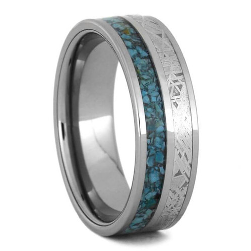 Tungsten meteorite turquoise band