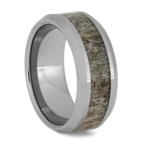 Deer Antler Tungsten Ring