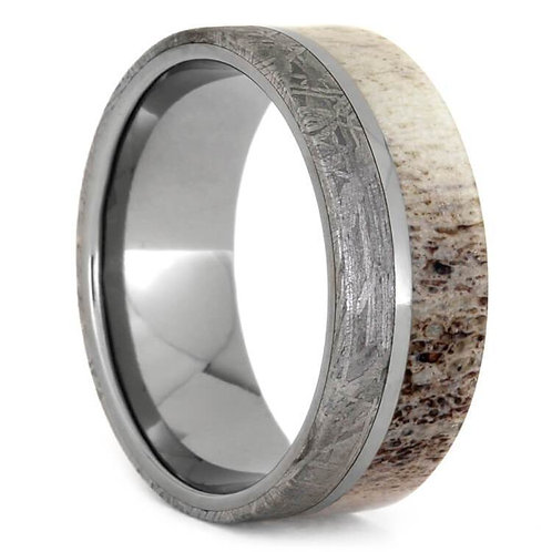 Meteorite Deer Antler Titanium Ring