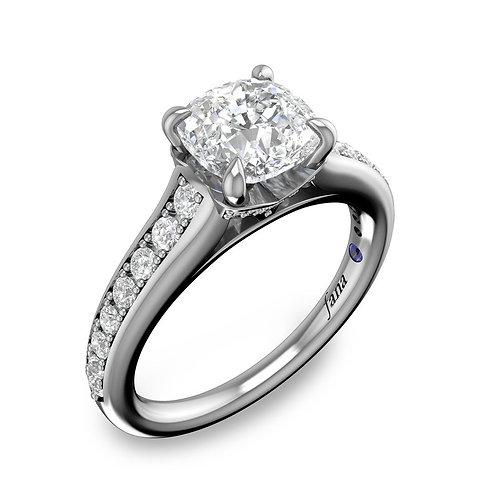Single Row Cathedral Princess Engagement Ring