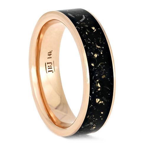 14kt Rose Gold Black Enamel Ring