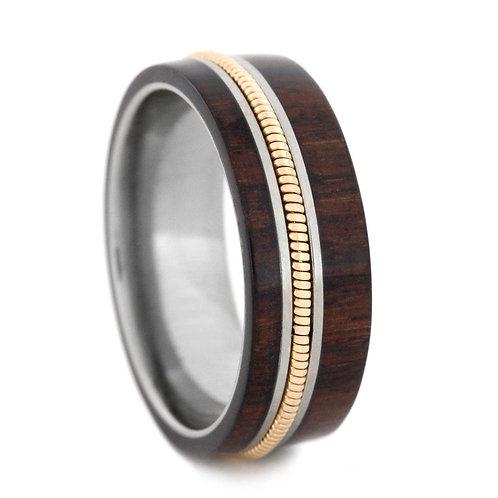 14kt Gold Wood Titanium Ring