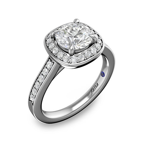 Classic Cushion Halo and Diamond Band Engagement Ring