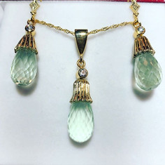 Beautiful green amethyst and diamond set