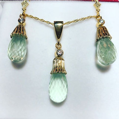 Beautiful green amethyst and diamond set