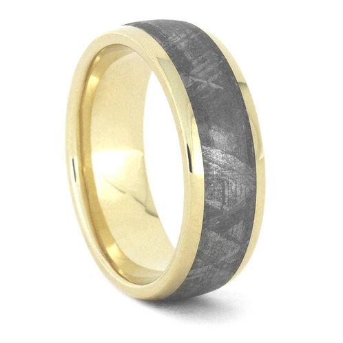 Meteorite 10kt yellow gold Ring