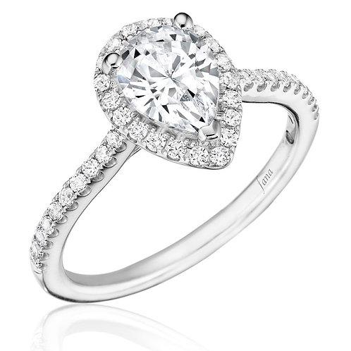 14kt Gold Halo Moissanite  Engagement Ring