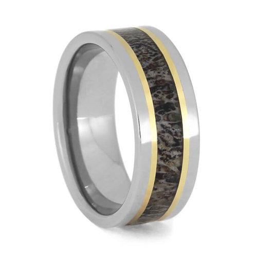Deer antler gold inlay Titanium Ring