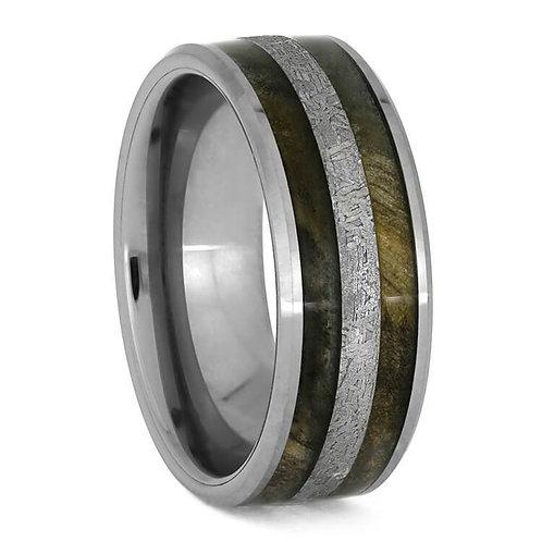 Meteorite Wood Tungsten Ring