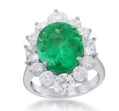 Green Emerald and Diamond Ring