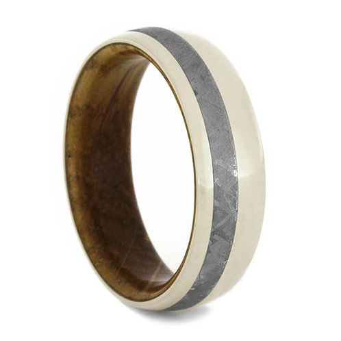 14kt White Gold Meteorite Wood Band