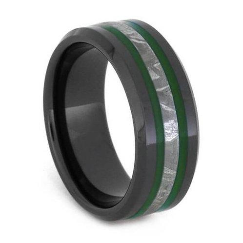 Black ceramic Meteorite enamel ring