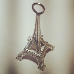 Eiffel Tower charm with pave set stones,