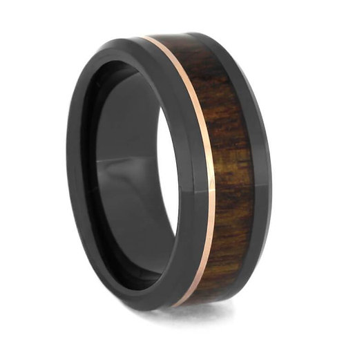 Wood gold Inlay black ceramic band
