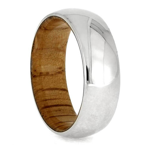 14kt white gold wood band