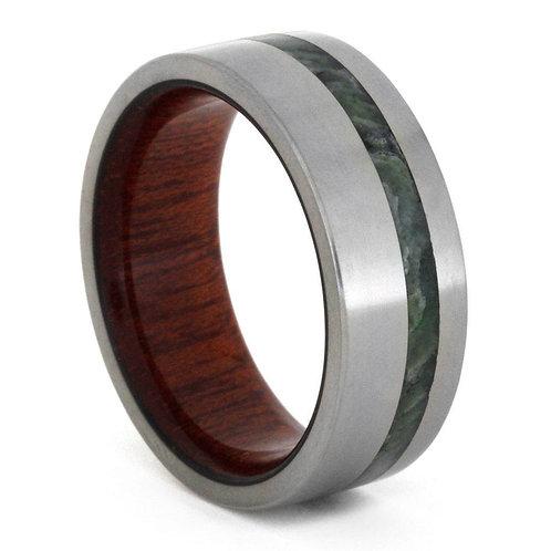 Jade Wood sleeve titanium band
