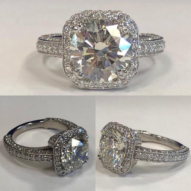 Custom Art Deco design engagement ring w