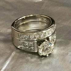 Diamond engagement and wedding band set.