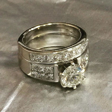 Diamond engagement and wedding band set.