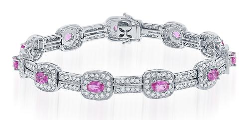 14kt Pink Sapphire and Diamond Bracelet