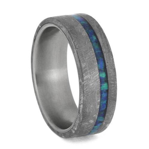 Meteorite Opal titanium Ring