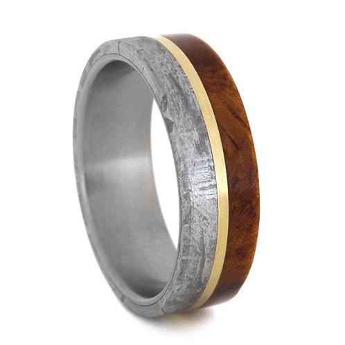 Meteorite Wood Gold Titanium Ring