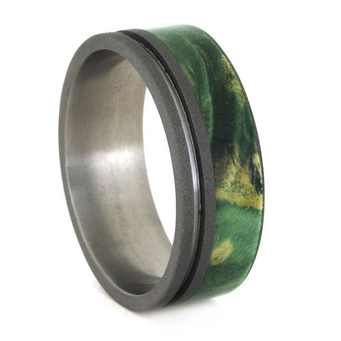 Green wood titanium band