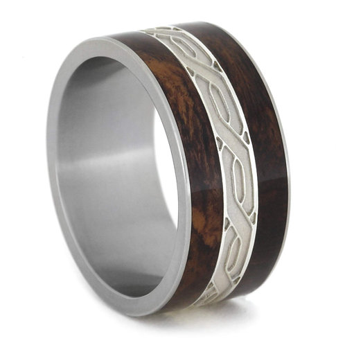 Celtic knot Wood Titanium Ring
