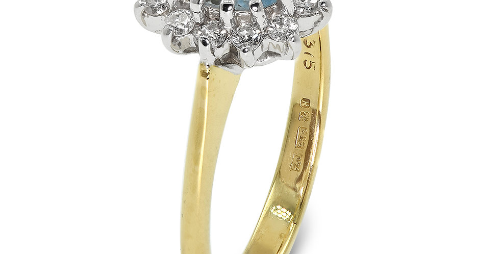 PRE OWNED: 9ct Yellow Gold Blue Topaz & Diamond Cluster Ring
