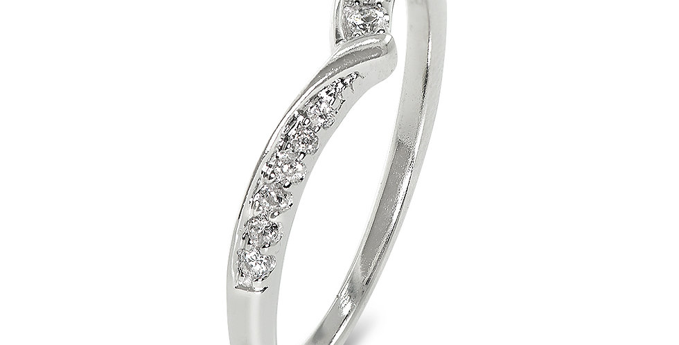 PRE OWNED: 18ct White Gold 0.10ct Diamond Wishbone Ring