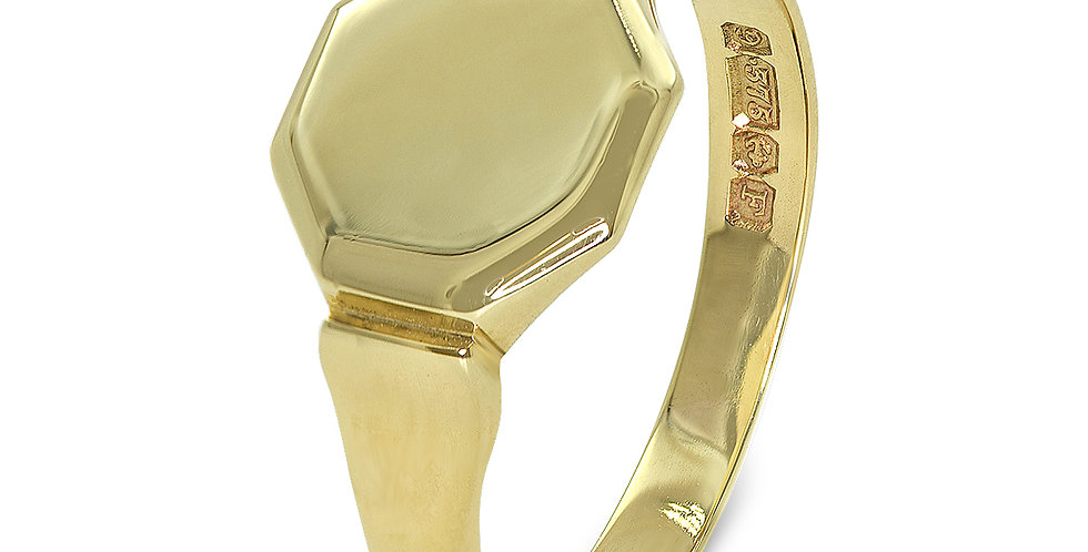PRE OWNED: 9ct Yellow Gold Hexagonal Signet Ring