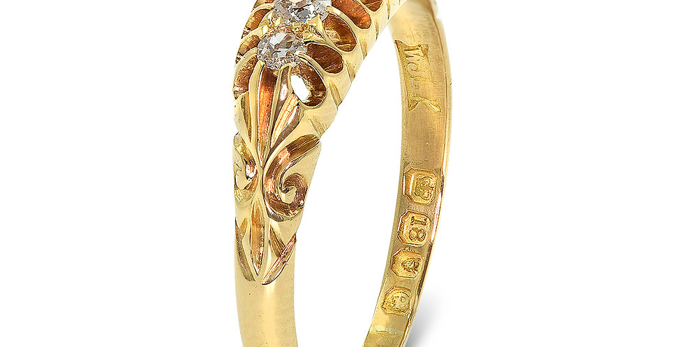 PRE OWNED: 18ct Yellow Gold 5 Stone Tapered Diamond Ring