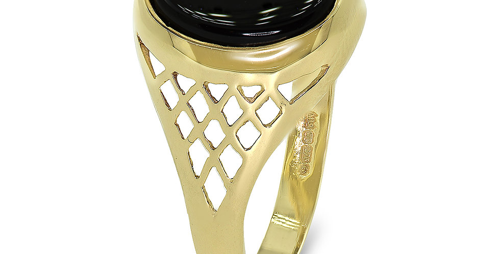 PRE OWNED: 9ct Yellow Gold Oval Onyx Signet Ring With Pierced Shoulders
