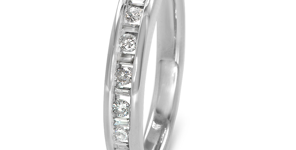 PRE OWNED: 14ct White Gold 0.25tcw Round & Baguette Cut Diamond Eternity Ring