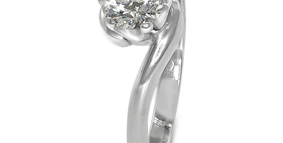 PRE OWNED: 18ct White Gold 0.50 Half Carat Diamond Solitaire Twist Ring