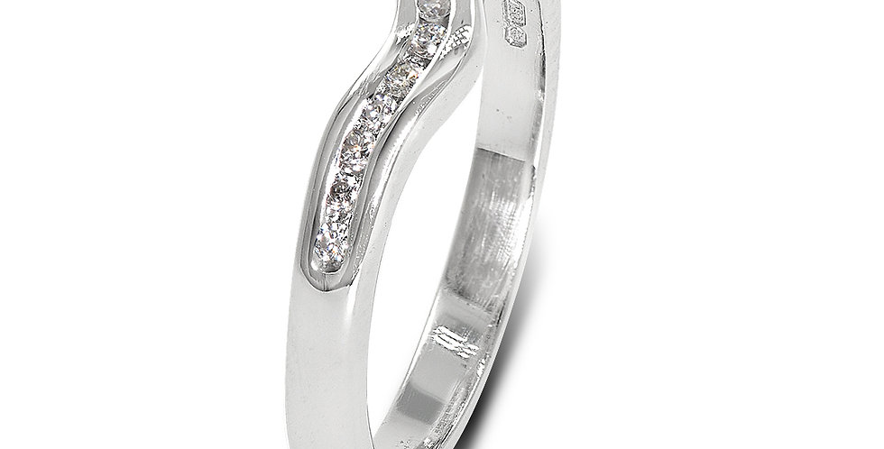 PRE OWNED: 18ct White Gold Diamond Wishbone Ring