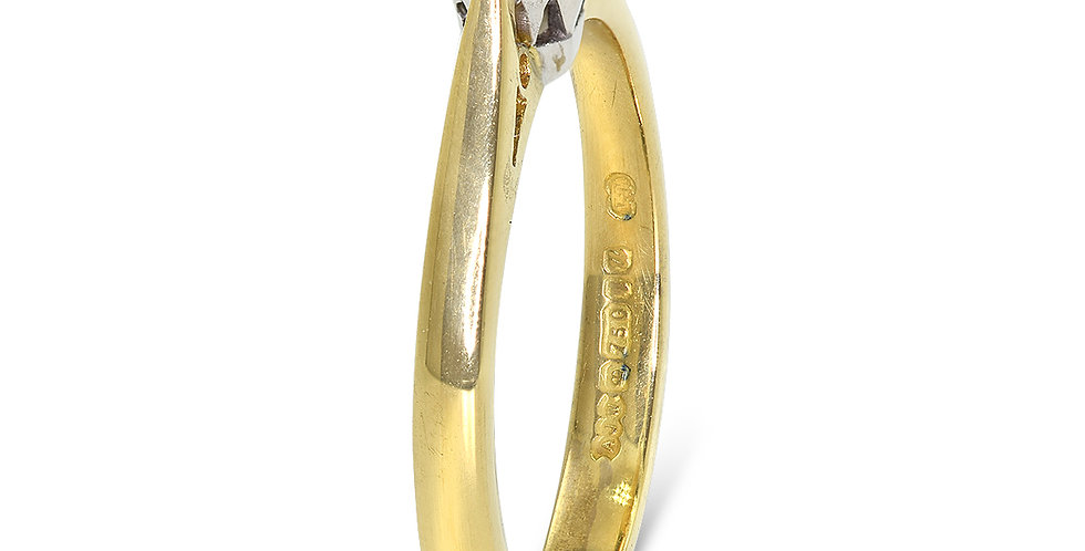 PRE OWNED: 18ct Yellow Gold 0.25 Diamond Solitaire Engagement Ring