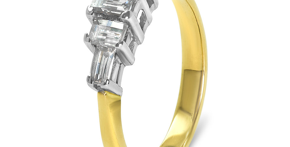 PRE OWNED: 18ct Yellow Gold Baguette 0.56ct Diamond Ring