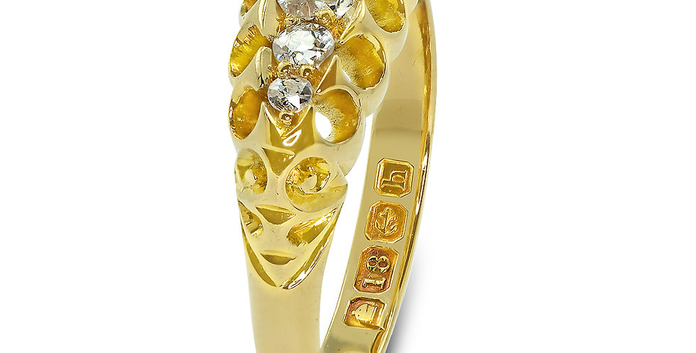 PRE OWNED: 18ct Yellow Gold Vintage 5 Tapered Diamond Ring