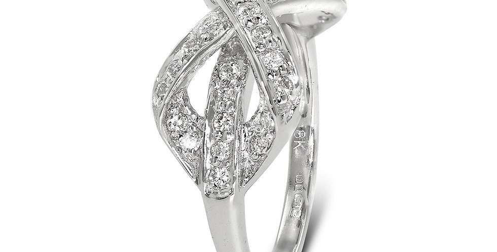 PRE OWNED: 18ct White Gold Diamond Crossover Bow Ring
