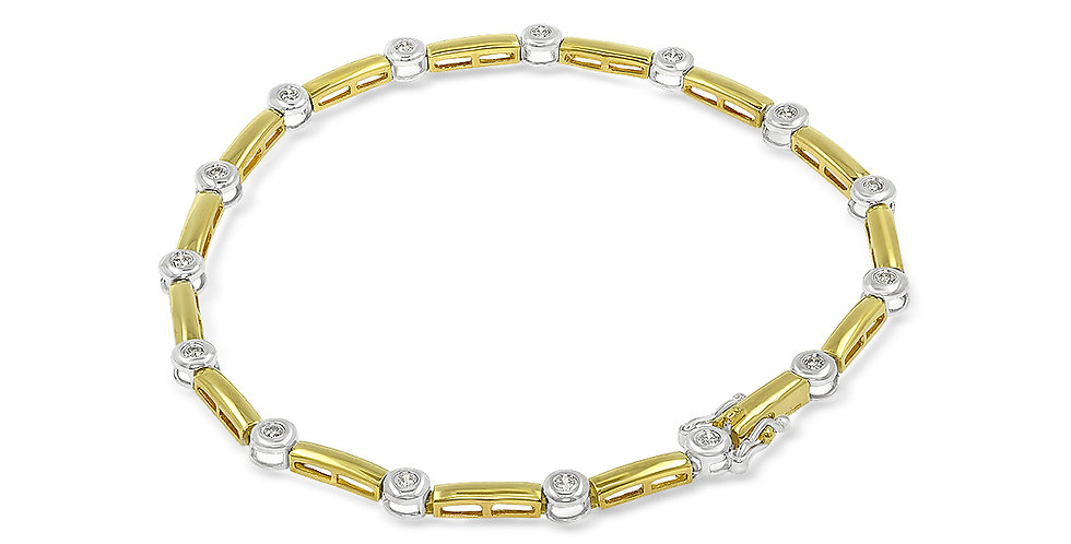 PRE OWNED: 18ct Yellow And White Gold 0.25ct Diamond 7' Tennis Bracelet
