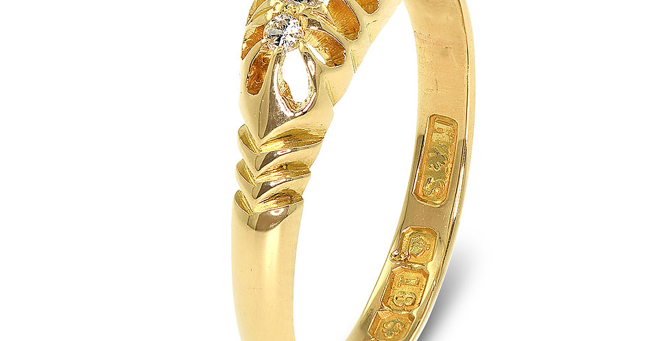 PRE OWNED: 18ct Yellow Gold Vintage 5 Stone Diamond Ring