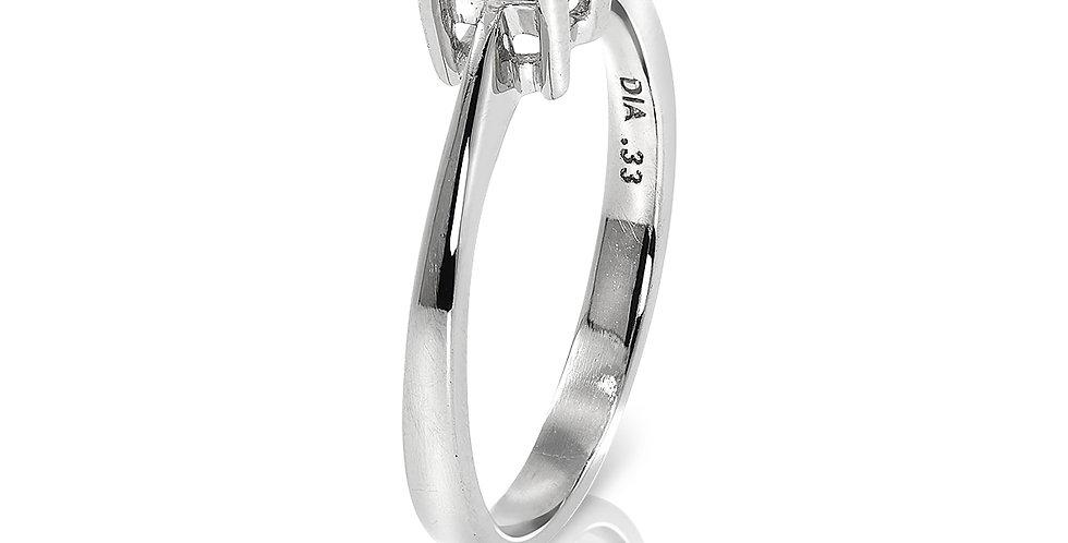 PRE OWNED: Platinum 0.33 Princess Cut Solitaire Diamond Ring