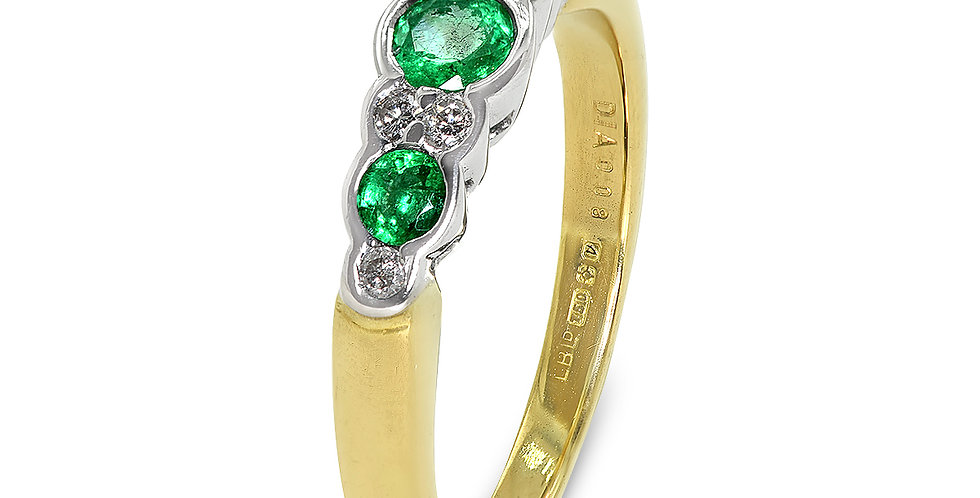 PRE OWNED: 18ct Yellow Gold Emerald & Diamond Ring