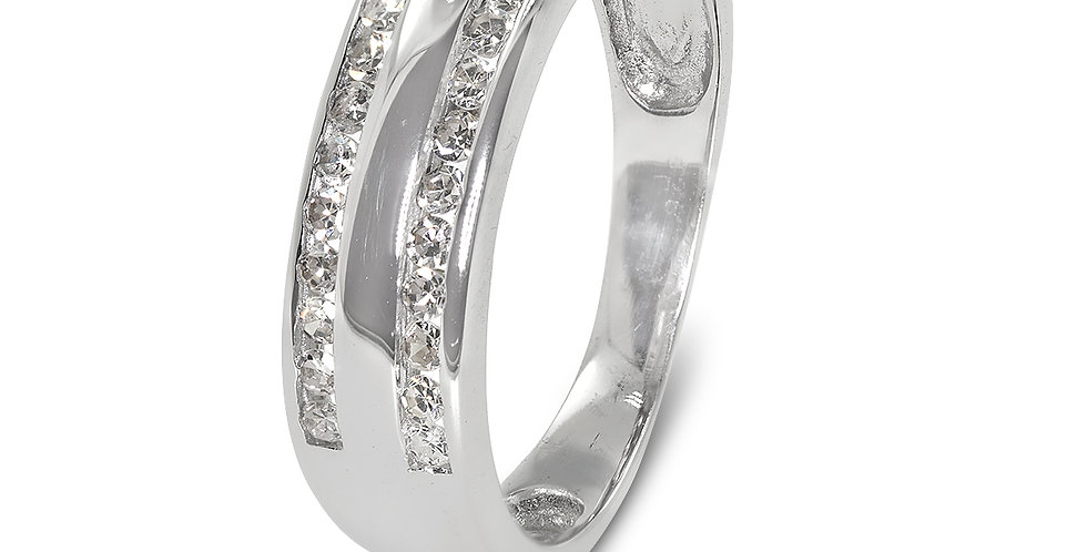 PRE OWNED: 18ct White Gold 0.25ct Two Row Diamond Ring