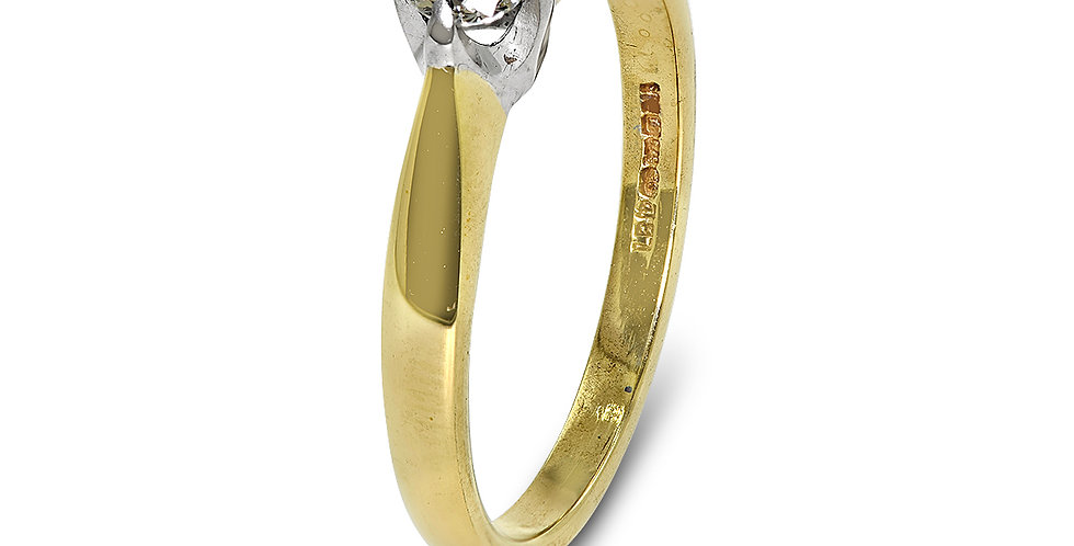 PRE OWNED: 9ct Yellow Gold 0.20ct Diamond Solitaire Ring